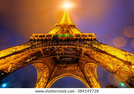 PARIS, FRANCE - FEBRUARY 04, 2016: Eiffel tower in Paris by night. Paris, France. The Eiffel tower is the most visited touristic attraction in France.