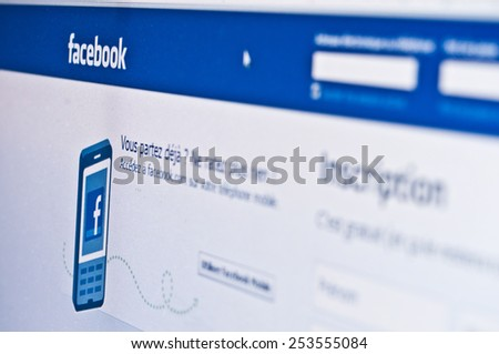 PARIS - France  - 17 February 2015 - Facebook page of registration on sreen - stock photo