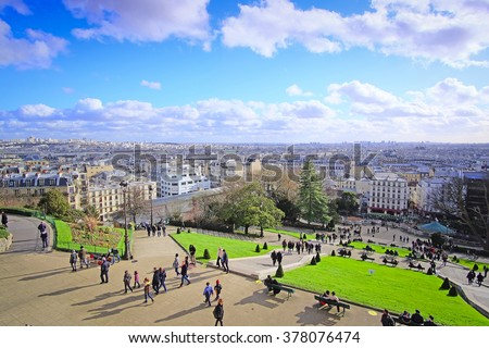 Paris, France, February 7, 2016: panorama of Paris from Montmartre - the well-known bohemian district in Paris, France - stock photo