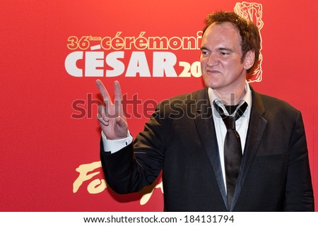 PARIS, FRANCE - FEBRUARY 25, 2011 : Quentin Tarentino at  red carpet of the Cesar Award at the Fouquet's