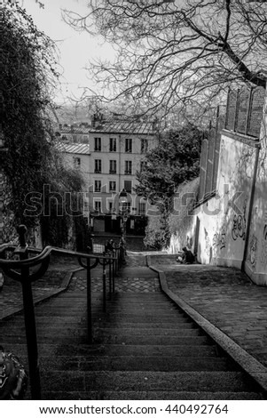 PARIS - FRANCE FEBRUARY 25,2016:rom the top of a typical staircase in Montmartre Hill, we see Paris skyline in the background. Black and white.
