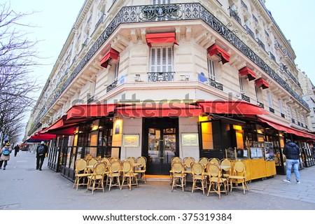 Paris, France, February 7, 2016: street cafe in Paris, France - stock photo