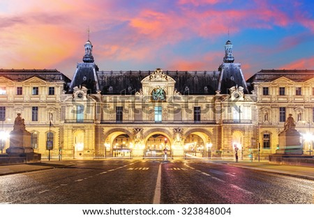 Paris, France - February 9, 2015: The Louvre Museum is one of the world's largest museums and a historic monument. A central landmark of Paris, France.