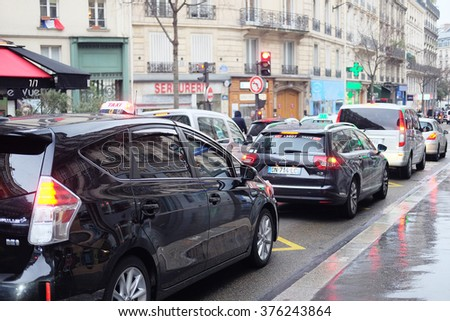 Paris, France, February 9, 2016: traffic jam on a street in a center of Paris, France