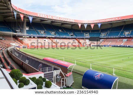 PARIS, FRANCE in AUGUST 14th, 2012 -The interior of Paris saint germain stadium on 14 August 2012 in Paris, France