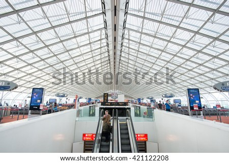 PARIS, FRANCE - JAN 22, 2016: Interior of Charles de Gaulle airport. CDG is one of the largest airports in Europe, named in honor of Charles de Gaulle, President of France. - stock photo