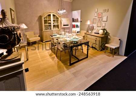 PARIS, FRANCE - JAN; 26, 2015: People visit stands at Maison et Objet, the French leading professional trade show for home fashion and design.