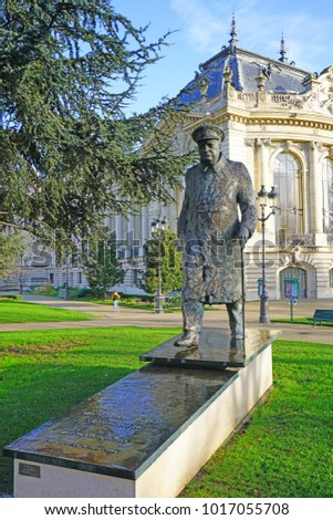 PARIS, FRANCE -2 JAN 2018- View of a bronze statue of Winston Churchill on  the grounds of the Petit Palais near the Champs Elysees in Paris.