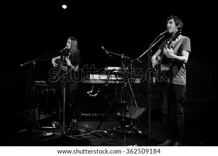 PARIS, FRANCE - January 9, 2016, concert of French folk music Band Ladybug and the Wolf, la Loge concert hall - stock photo