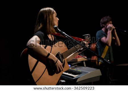 PARIS, FRANCE - January 9, 2016, concert of French folk music Band Ladybug and the Wolf, la Loge concert hall