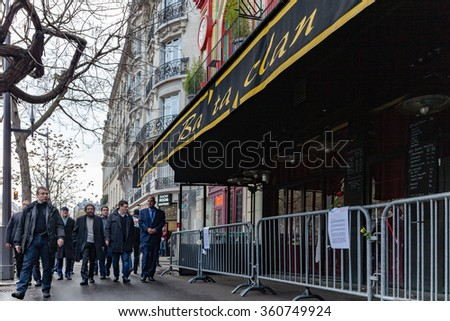Paris, France - January 8, 2016: Imam Hassen Chalghoumi,  Marek Halter, Stéphane Martinet deputy mayor of Paris 11th  and personalities pay tribute to Bataclan victims of terrorist attacks in Paris.