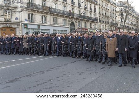 "PARIS, FRANCE - JANUARY 11, 2015 : Je suis charlie"" - Republican march organized by France following the terrorist attack against the newspaper ""Charlie Hebdo"" - stock photo"