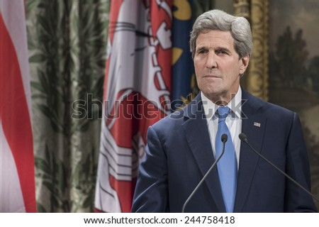 """PARIS, FRANCE - JANUARY 16, 2015 : """"Je suis Charlie"""" - United States Secretary John Kerry when he came to Paris to pay tribute to the victims of  terrorist attack against charlie hebdo. - stock photo"""