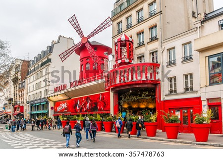 PARIS, FRANCE - JANUARY 1, 2016: Moulin Rouge. Moulin Rouge is a famous Parisian cabaret built in 1889, locating in Paris red-light district of Pigalle on Boulevard de Clichy.