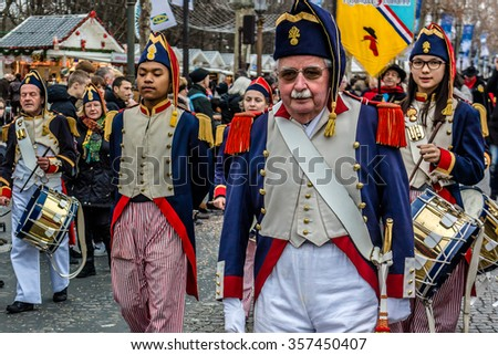 PARIS, FRANCE - JANUARY 1, 2016: Paris New Year Parade (Grande Parade de Paris) is an annual international parade on the famous Champs Elysees involving musicians and dancers from Europe and America.