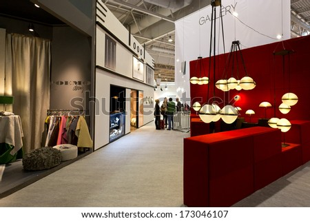PARIS, FRANCE - JANUARY 24, 2014: People gather outside a stand at Maison&Objet, the French leading professional trade show for home fashion in Paris, France.