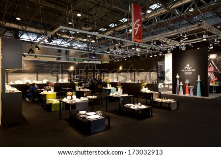 PARIS, FRANCE - JANUARY 24, 2014: People visit home design stands at Maison&Objet, the French leading professional trade show for home fashion in Paris, France.