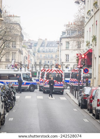 PARIS, FRANCE - JANUARY 7, 2015 Street of Paris after the  Terror attack in Paris at the Charlie Hebdo newspaper JANUARY 7, 2015 PARIS FRANCE - stock photo