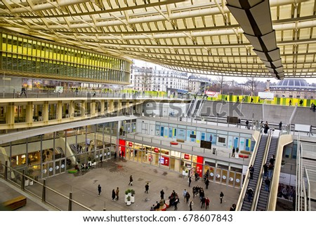 PARIS- FRANCE, January 2017: The canopy rooftop of the new Forum des Halles shopping complex in Paris, France