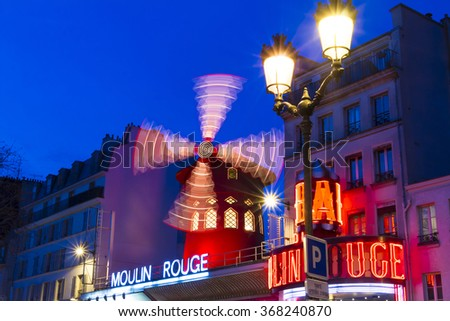 Paris, France-January 25, 2016 : The famous cabaret Moulin Rouge located in Pigalle quarter on boulevard Clichy in Paris, France.