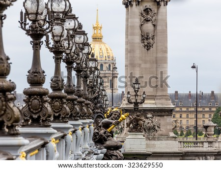 Paris, France - July 21, Alexandre III bridge in Paris, July 21, 2015 in Paris - stock photo