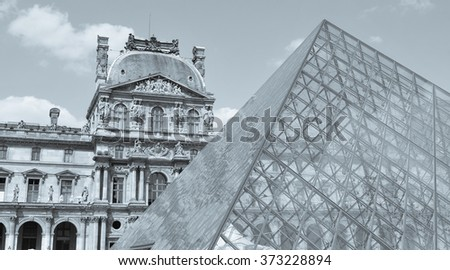 Paris, France - July 9, 2015: Architectural detail the Louvre Museum, major landmark in the French capital city and worldwide - stock photo