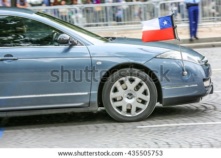 PARIS, FRANCE - JULY 14, 2014: Chile Diplomatic car during Military parade (Defile) in Republic Day (Bastille Day). Champs Elysees.