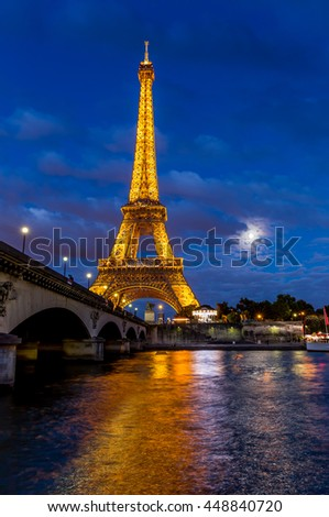 Paris, France, July 26.2015 - Eiffel Tower at night in Paris
