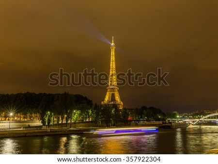 Paris, France-July 27, Eiffel Tower at night in Paris, July 27.2015 in Paris