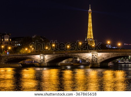 Paris, France-July 21, Eiffel Tower at night in Paris, July 21.2015 in Paris - stock photo