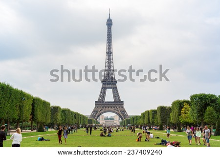 PARIS, FRANCE - JULY 14 2014: Eiffel Tower most visited monument in France and the most famous symbol of Paris, July 14, 2014