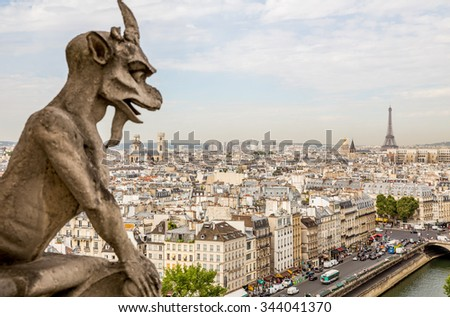 Paris, France-July 23, gargoyles on Notre Dame Cathedral in Paris, July 23.2015 in Paris