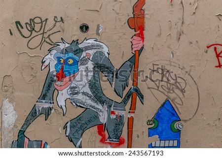 Paris, France-July 11, graffiti on the walls of Paris, July 11.2014 in Paris