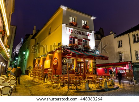 Paris, France, July 25.2015 - Montmartre in Paris at night