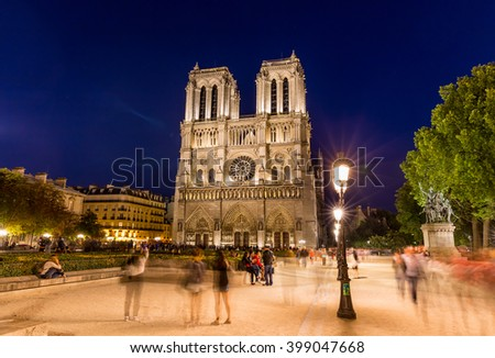 Paris, France, July 25.2015 - Notre Dame Cathedral in Paris - stock photo