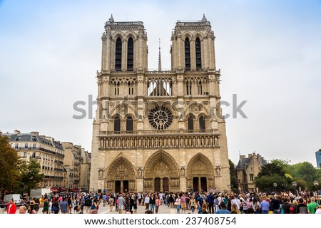 PARIS, FRANCE - JULY 14 2014: Notre Dame de Paris cathedral is one of the most visited places in France and one of the most famous symbols of Paris, July 14, 2014 - stock photo