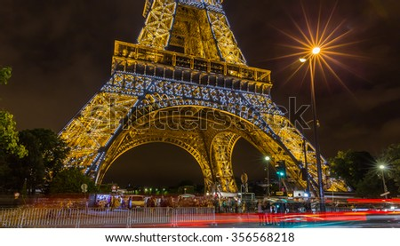 Paris, France-July 20, Paris and the Eiffel Tower at night, July 20.2015 in Paris