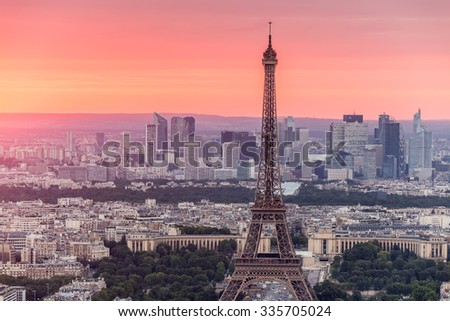 Paris, France-July 23, Paris view from the Montparnasse Tower, July 23.2015 in Paris - stock photo