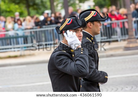 PARIS, FRANCE - JULY 14, 2014: Student of Polytechnic Engineering school (Ecole polytechnique) during Military parade (Defile) in Republic Day (Bastille Day). Champs Elysees.