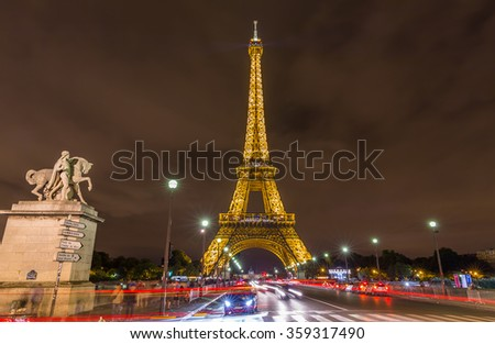 Paris, France-July 24, the Eiffel Tower at night in Paris, July 24.2015 in Paris - stock photo