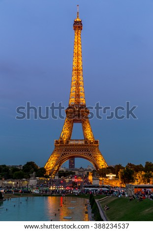 Paris, France, July 24.2015 - the Eiffel Tower in Paris at night