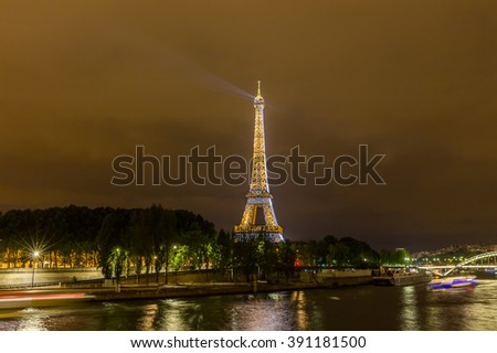 Paris, France, July 26.2015 - the Eiffel Tower in Paris at night
