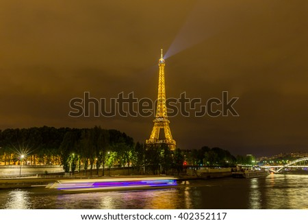 Paris, France, July 25.2015 - the Eiffel Tower in Paris at night