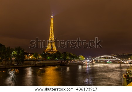 Paris, France, July 26.2015 - the Eiffel Tower in Paris at night, France