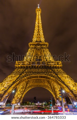 Paris, France-July 21, the Eiffel Tower in Paris at night, France, July 21.2015 in Paris