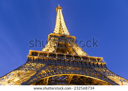 Paris, France-July 12, the Eiffel Tower in Paris in July 12.2014