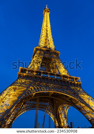 Paris, France-July 14, the Eiffel Tower in Paris in July 14.2014