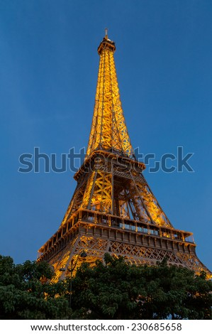 Paris, France-July 10, the Eiffel Tower, July 10.2014 in Paris - stock photo