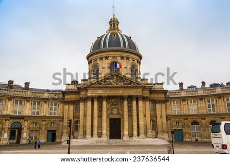 PARIS, FRANCE - JULY 14 2014:  The Institute de France located in Paris buil between 1662 and 1688 on July 14, 2014