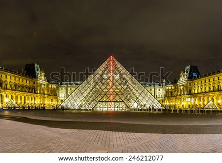 PARIS, FRANCE - JULY 14 2014: The Louvre at night is one of the world's largest museums  in Paris, July 14, 2014